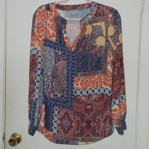 Cremieux Patterned Blouse Size Small